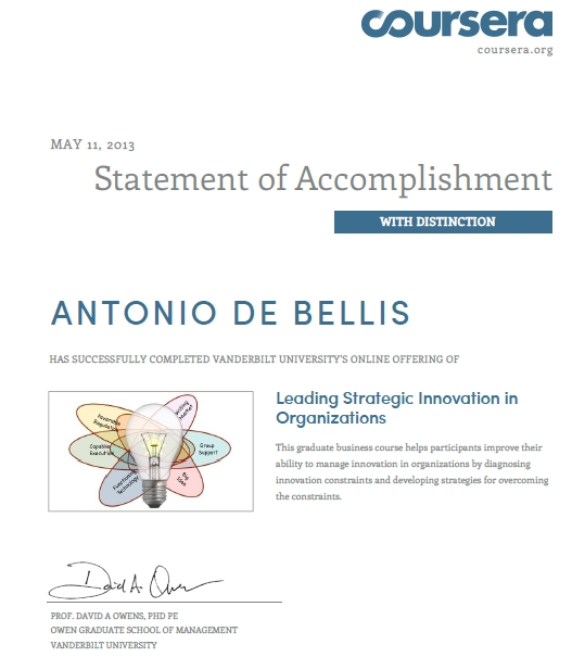 Antonio De Bellis_Certificate Leading Strategic Innovation_Vanderbilt Coursera