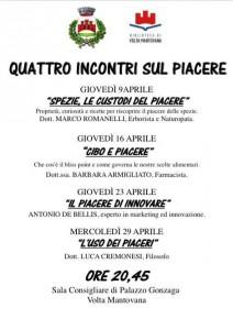 Locandina 4 Incontri dedicati al Piacere - Volta Mantovana - Aprile 2015